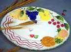 Ceramic dinning set - painted fruit decor flat plate